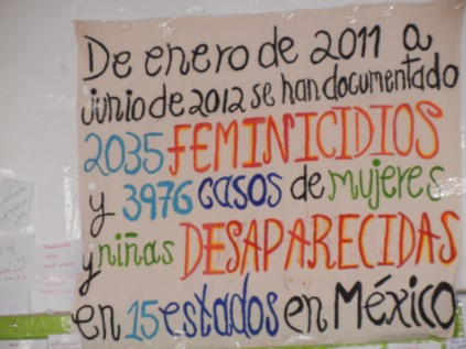 Documenting 2035 killings of girls and women in 15 states in Mexico between January 2011 and June 2012; Day 3 of World Social Forum; photo by Frances Hasso