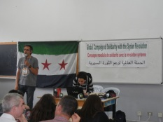 Campaign in solidarity with the Syrian revolution; 28 March, Day 3 of WSF; photo by Frances Hasso