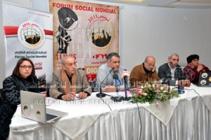 Press conference in Tunis, preparatory committee of WSForum -- Credit: TAP, Tunis Afrique Presse