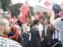Tunisian opposition forces were widely present at WSF; 26 March 2013; photo by Frances Hasso