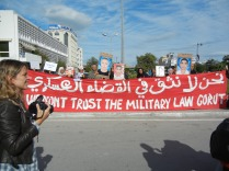 No to military tribunals, Tunis; WSF 2013; 26 March; photo by Frances Hasso