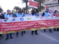 "Tunisian opposition, ""a constitution that protects rights and liberties""; 26 March 2013, photo by Frances Hasso"
