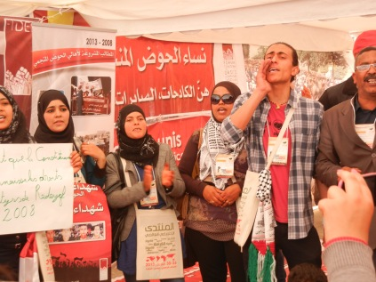 Tunisian leftist opposition tent; Day 2 of WSF; 27 March 2013; photo by Frances Hasso