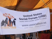 Tent meeting of U.S. Social Forum in Zone C; 29 March 2013; photo by Frances Hasso