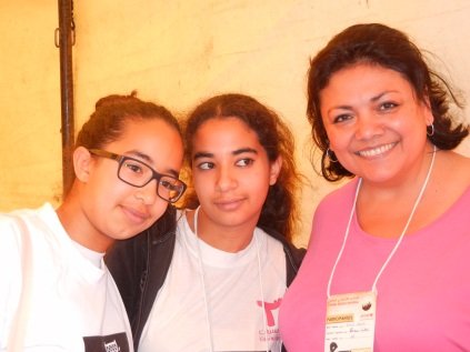 Sylvia Orduno of the U.S. and 2 Tunisian 15-year-old activists who were simply amazing in their forthright and sophisticated political analyses; 29 March 2013; photograph by Frances Hasso