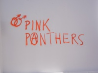 Pink Panthers (anarchist), I don't know which chapter; some queerish graffiti at the WSF in Tunis; 29 March 2013; photo by Frances Hasso