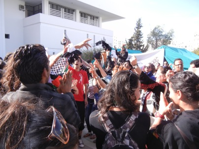 Palestinians partying to music at the WSF; 29 March 2013; photograph by Frances Hasso