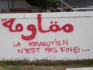 """Resist: The Revolution is Not Over;"" Tunisia, World Social Forum, 30 March 2013; photo by Frances Hasso"