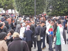 Thousands gather to close WSF for a long march that marks Palestinian Land Day; Rue Habib Bourghiba; 30 March 2013; photo by Frances Hasso